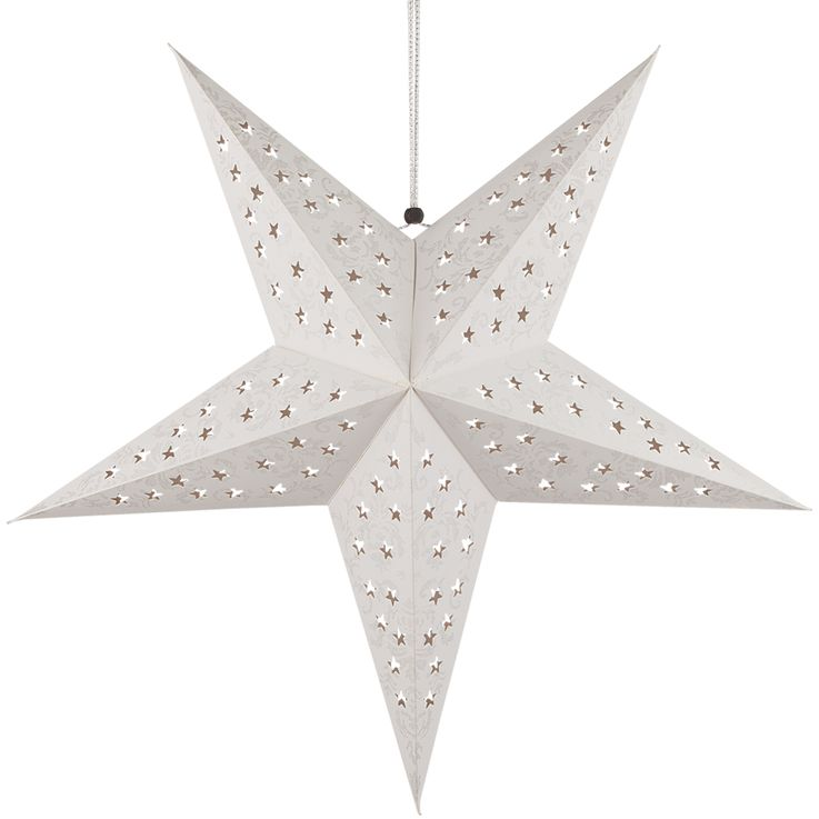 LED X-MAS ceiling hanging lamp paper Christmas star living room light fixture white silver  Globo 23200S – Bild 1