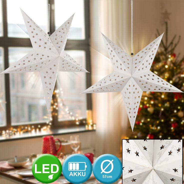 LED X-MAS ceiling hanging lamp paper Christmas star living room light fixture white silver  Globo 23200S – Bild 3