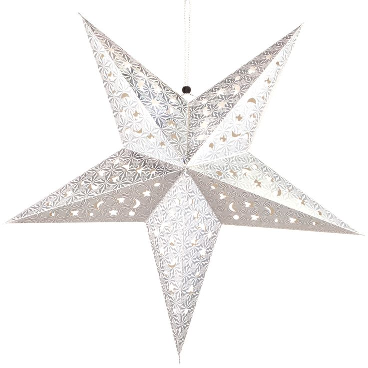 LED X-MAS ceiling hanging star Christmas lighting and decoration pendulum lamp silver  Globo 23201S – Bild 1
