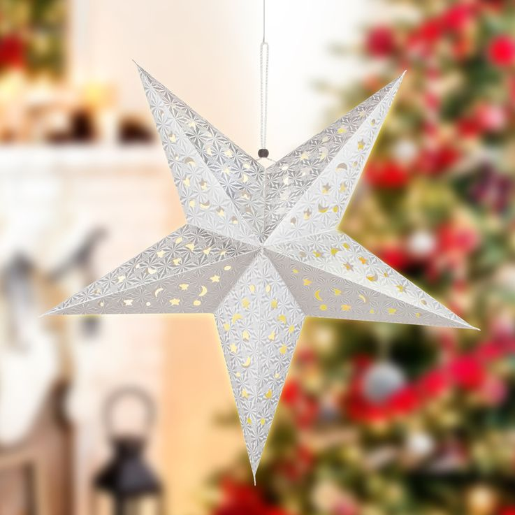 LED X-MAS ceiling hanging star Christmas lighting and decoration pendulum lamp silver  Globo 23201S – Bild 5