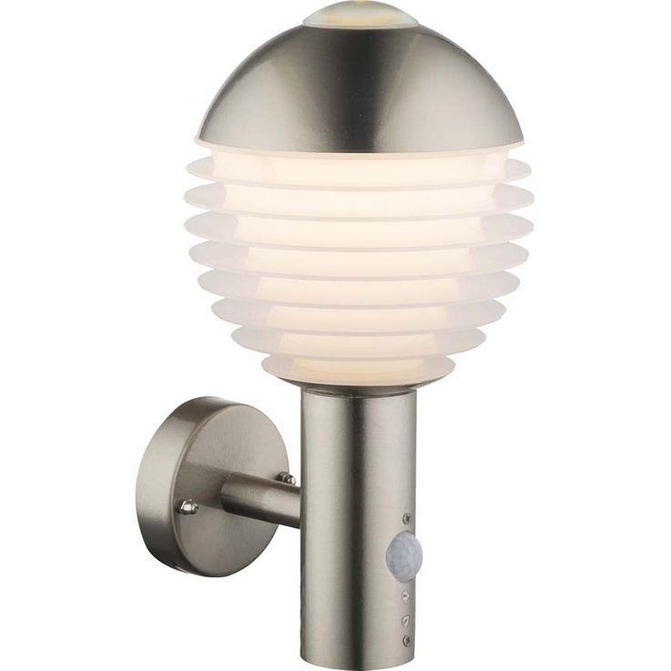 Luxus LED Außen Wand Lampe Veranda Edelstahl Hof Leuchte silber Bewegungs Melder Globo 34286S – Bild 1