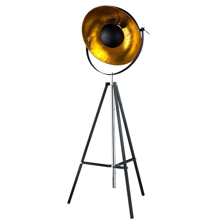 Steh Lampe Dielen Schein Werfer Decken Fluter Stativ Strahler Gold verstellbar Globo 58286 – Bild 1