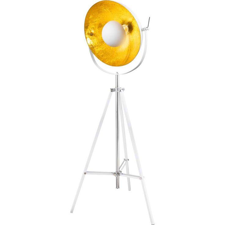 Stehleuchte weiß Schirm beweglich goldfarben 3-Bein mit Schirm halbrund – Bild 1