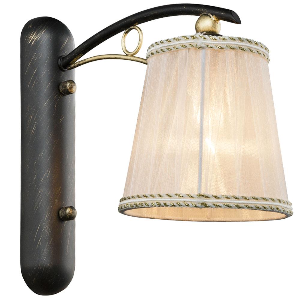 Wandlampe, gold schwarz, Textilschirm weiß, H 26 cm, GENOVEVA   ETC Shop