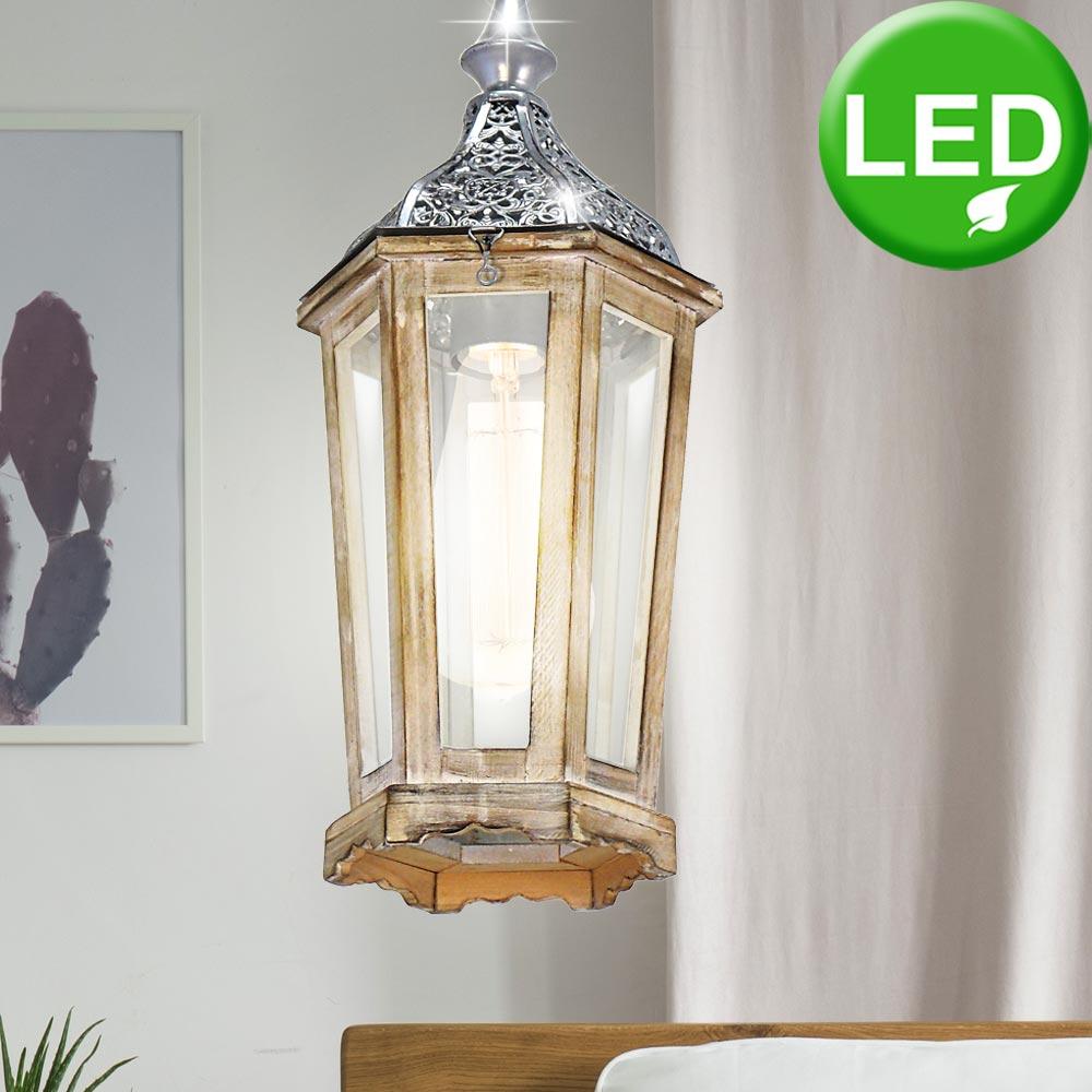 RGB LED Decken Pendel Lampe Filament Fernbedienung Holz Hänge Laterne dimmbar