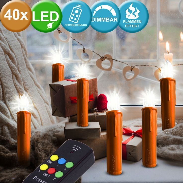 40x LED Christmas candles unmanned remote control dimmer flicker effect lamps red  orange Adexi 361313014 – Bild 2