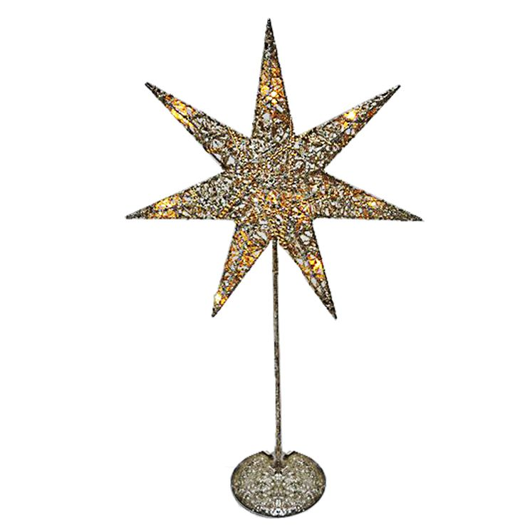 LED Christmas table stand light Advents star lamp silver gold decoration lighting  Harms 920116 – Bild 1