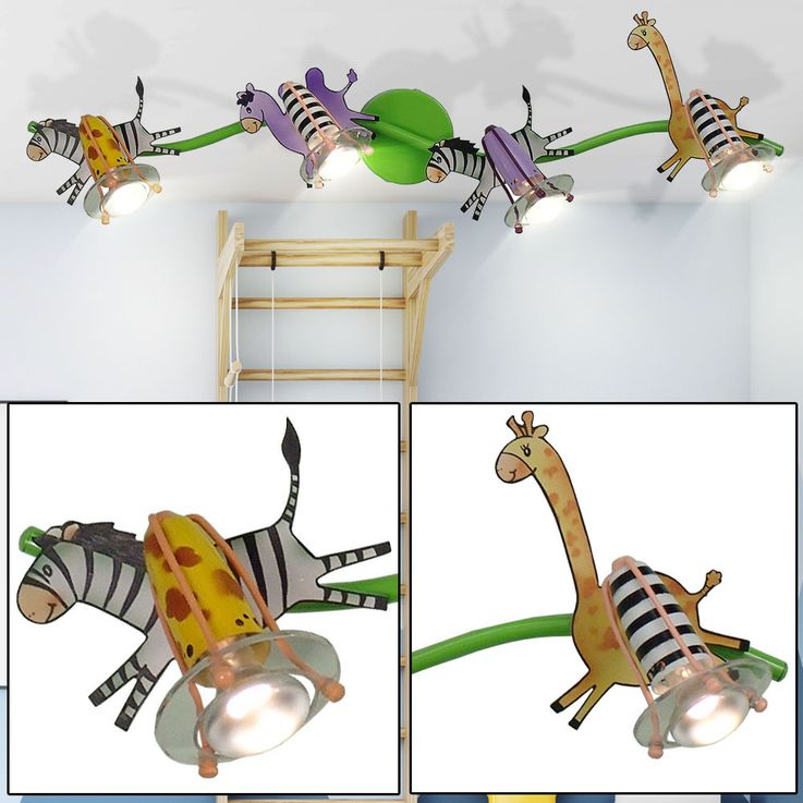 Children Ceiling Lamp Zoo Animals Boys Girls Game Room Spot Lamp Spotlight Portable  Esto 50010-4 – Bild 2