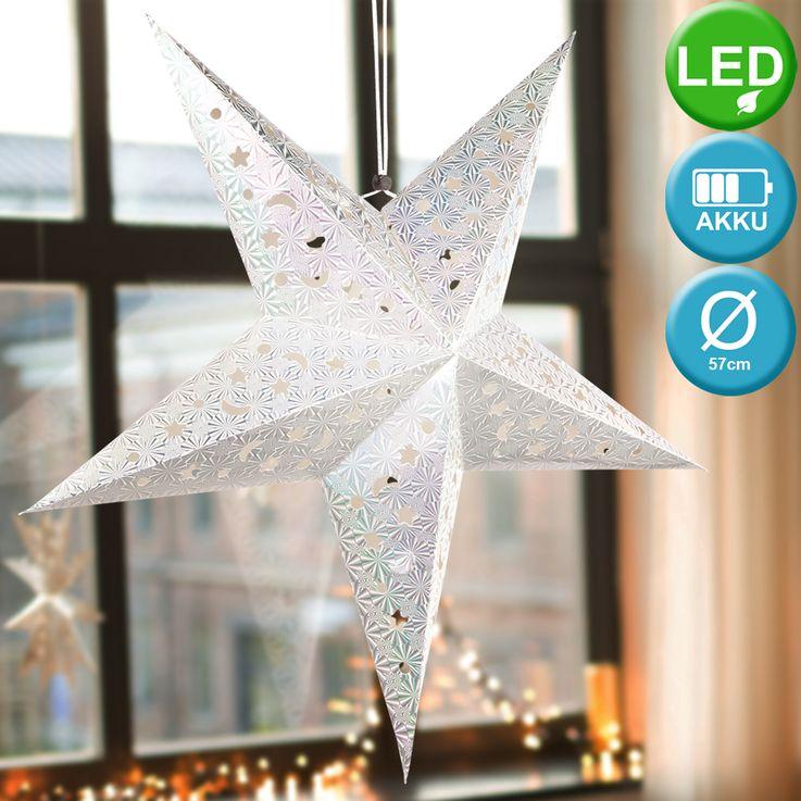 2er Set LED Weihnachtssterne Hängelampen,  D 57 cm, X-MAS – Bild 4
