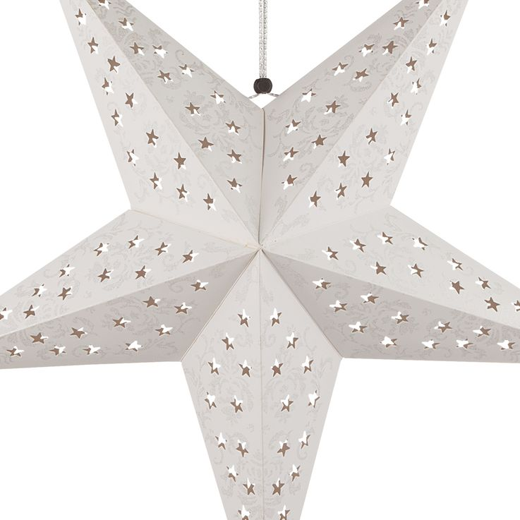 2er Set LED Weihnachtssterne Hängelampe, weiß silber, X-MAS – Bild 5