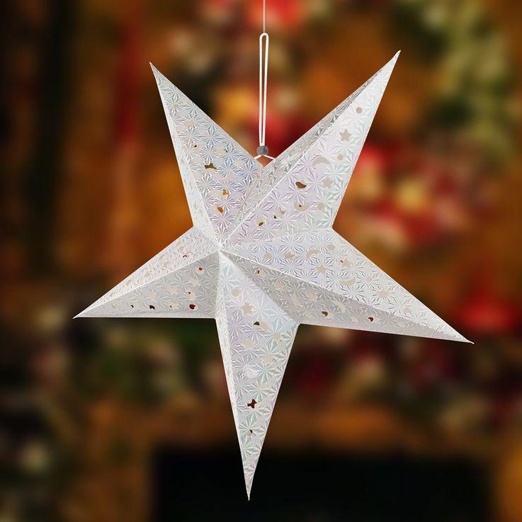 2er Set LED Weihnachtsstern Hängelampen, silber, X-MAS – Bild 4