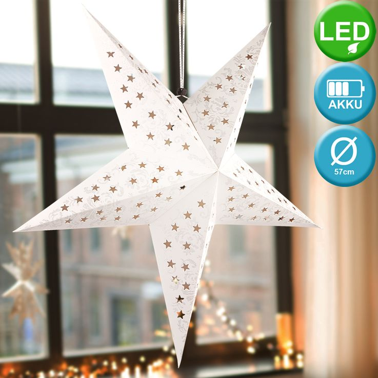 Set of 2 LED X  -MAS deco ceiling hanging lamps white silver christmas pendulum advent star gold – Bild 4