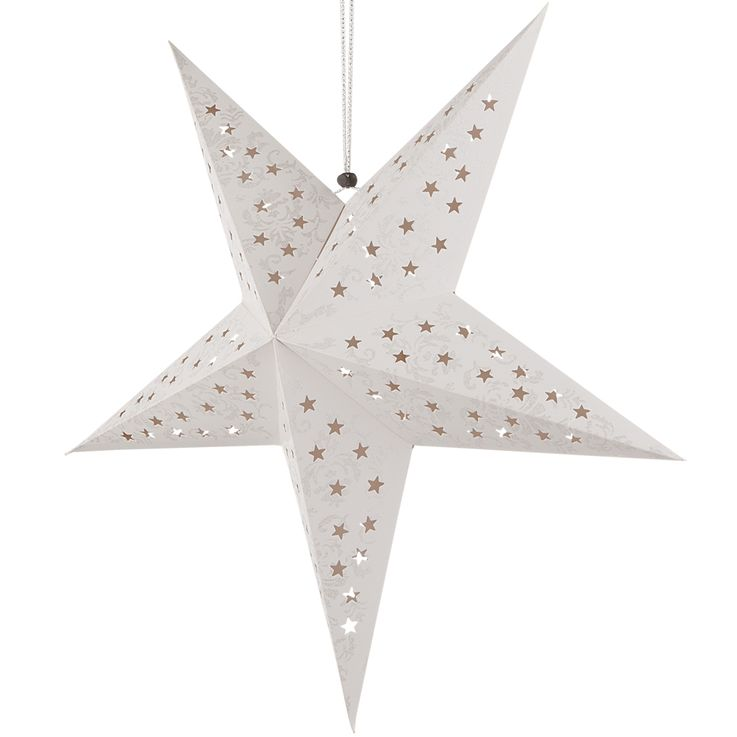 Set of 2 LED X  -MAS deco ceiling hanging lamps white silver christmas pendulum advent star gold – Bild 10