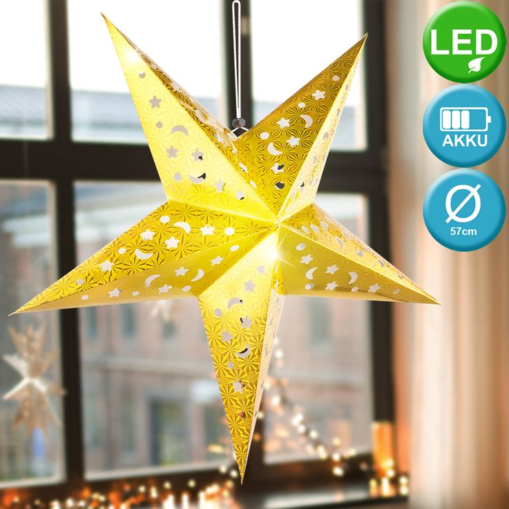 Set of 2 LED X  -MAS deco ceiling hanging lamps white silver christmas pendulum advent star gold – Bild 3