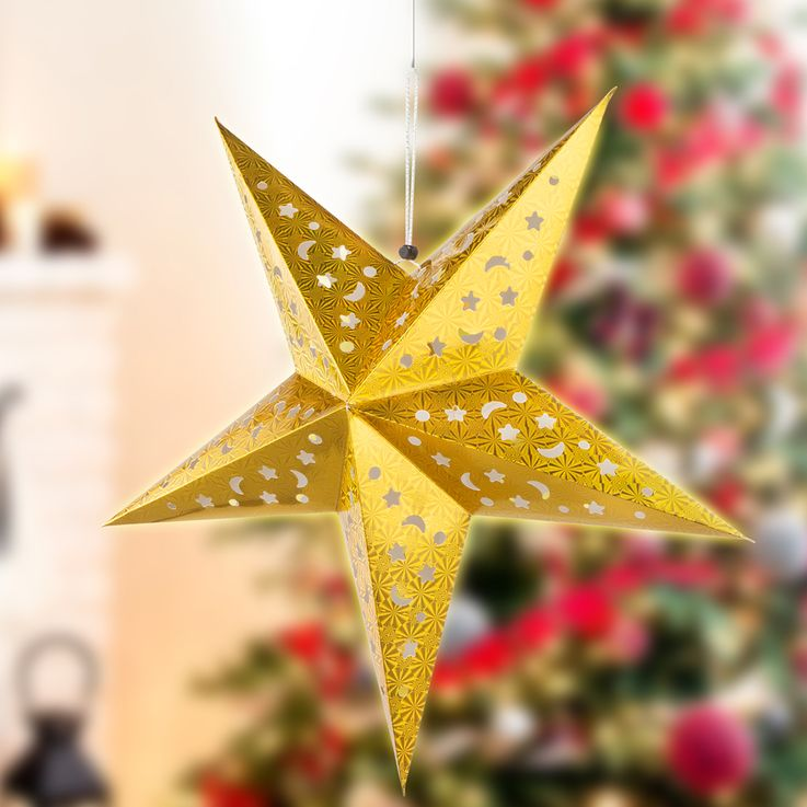 Set of 2 LED X  -MAS deco ceiling hanging lamps white silver christmas pendulum advent star gold – Bild 6