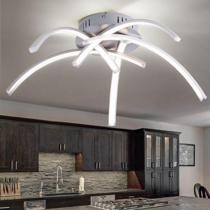 LED Decken Leuchte Wohn Zimmer Beleuchtung 5 Strahler gebogen Lampe silber Paul Neuhaus 15340-55 – Bild 3
