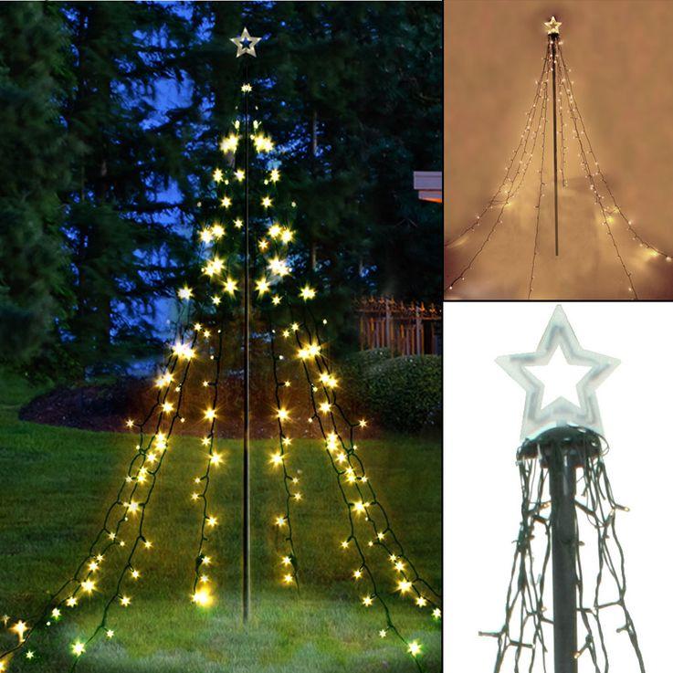 200x LED Licht Pyramide Weihnachts Baum Lichterkette Lampen Erdspieß Außen Dekoration Harms 507173 – Bild 2