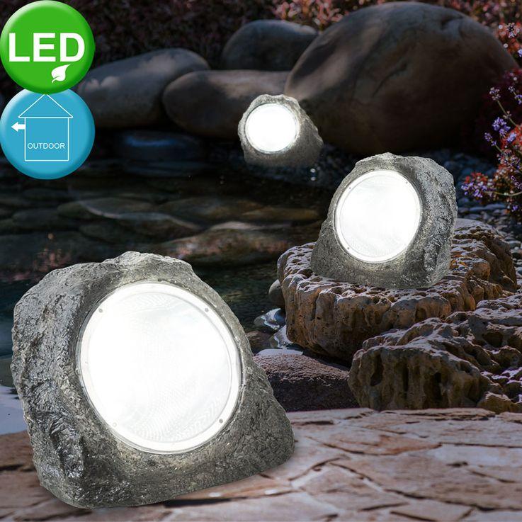3x LED Außen Leuchten Garten Weg Boden Lampen Stein Optik Terrassen Steh Strahler Globo 3702-3 – Bild 2