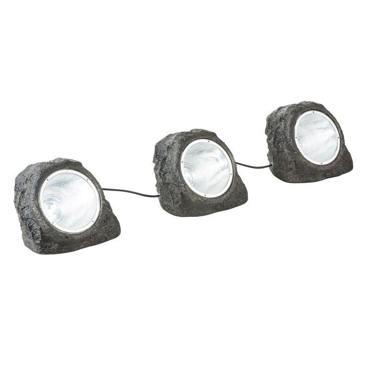 3x LED Außen Leuchten Garten Weg Boden Lampen Stein Optik Terrassen Steh Strahler Globo 3702-3 – Bild 5