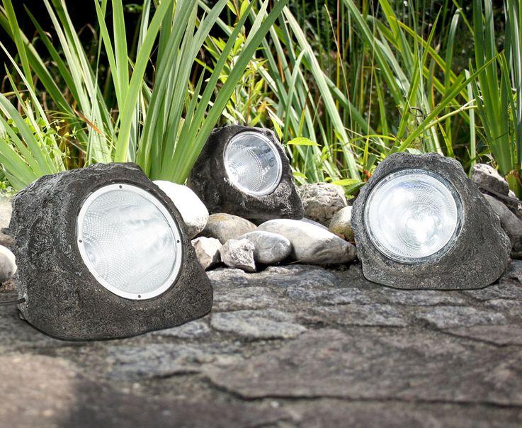 3x LED Außen Leuchten Garten Weg Boden Lampen Stein Optik Terrassen Steh Strahler Globo 3702-3 – Bild 3