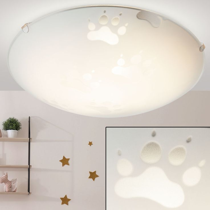 Paws design ceiling lamp children room lighting animal paws glass lamp round  Globo 4090 – Bild 1