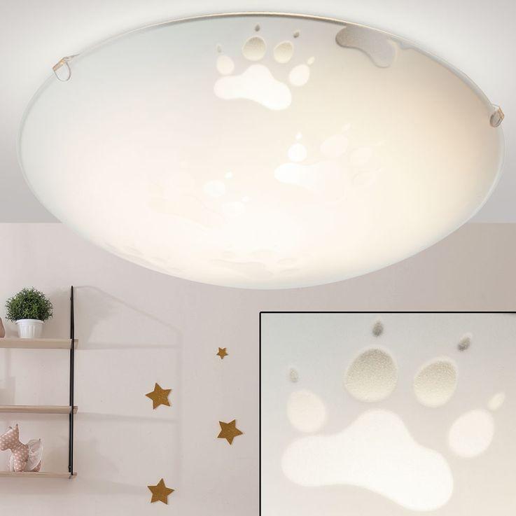 Children ceiling lamp, paws  - paws motive, glass santiniert – Bild 1