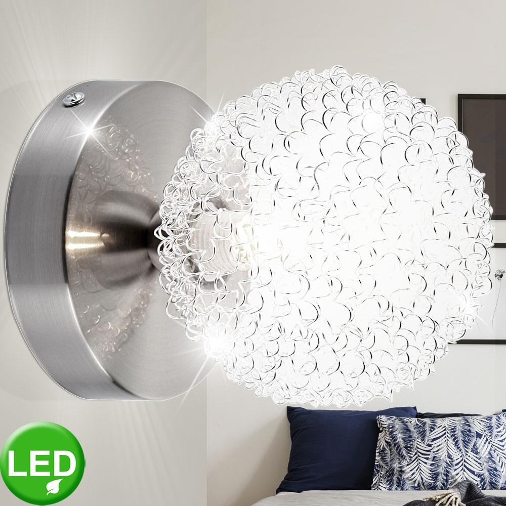 LED Wand Leuchte ALU Geflecht Wohn Zimmer Beleuchtung Glas
