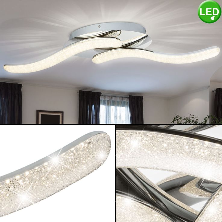 LED ceiling lamp, chrome, crystals, length 75 cm, NABRO – Bild 2