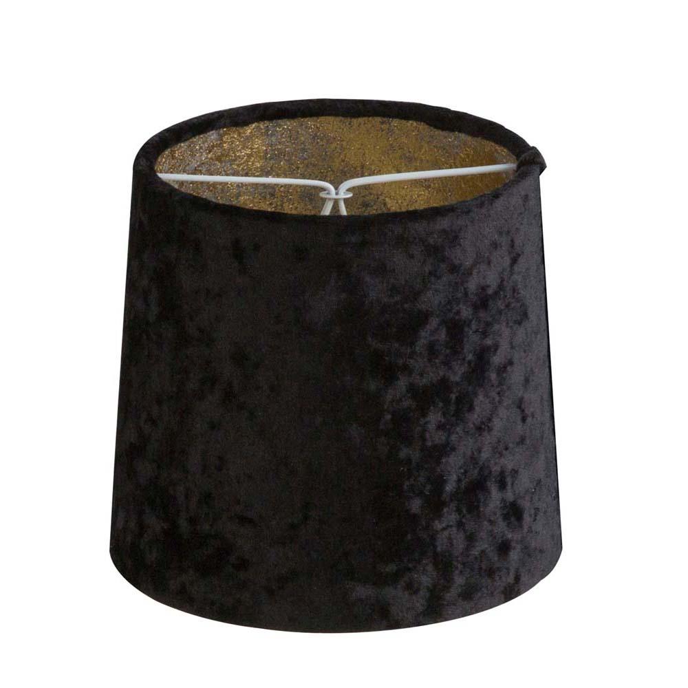 Lampenschirm rund, innen Blattgold, für E14 Tisch- oder Stehleuchten Samt