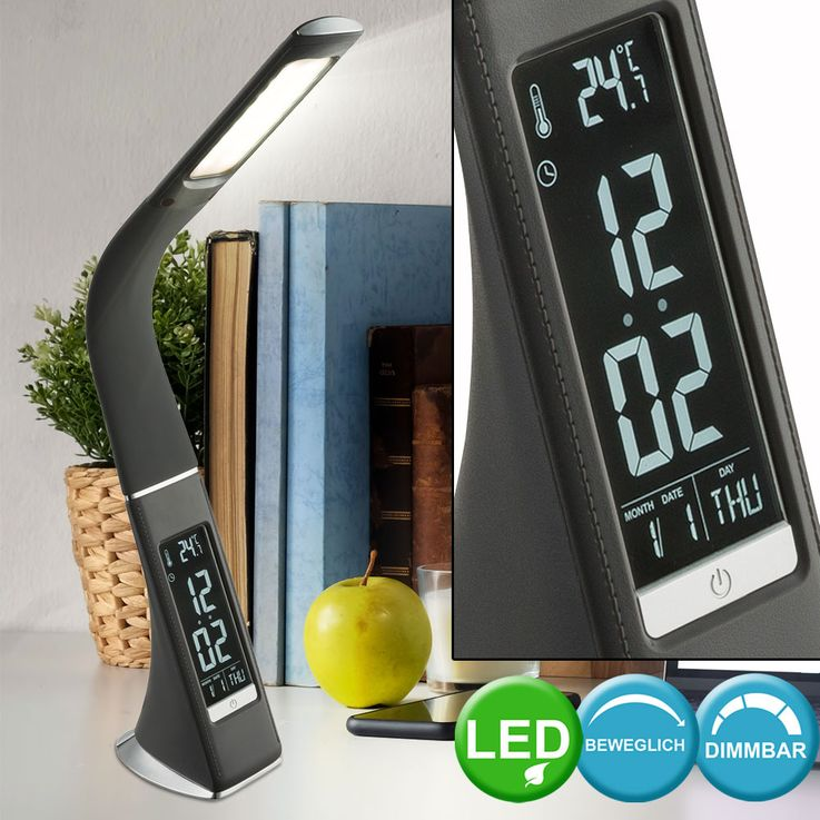 LED Touch Dimmer Table Lamp Alarm Clock Clock Sleep Room CCT Day Light Lamp chrome  Globo 58335 – Bild 2