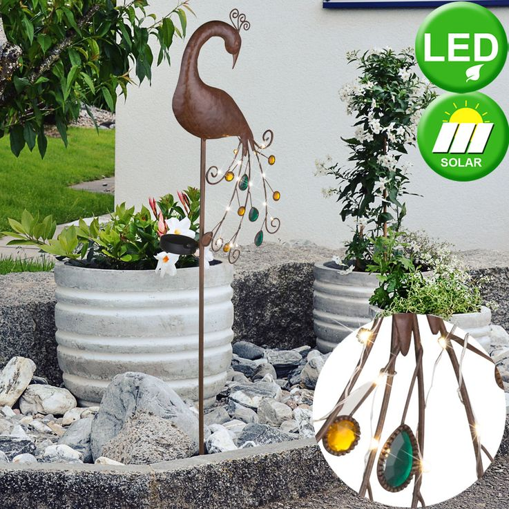 LED Solar Erspieß Steck Leuchte Garten Weg Beet Beleuchtung Pfau Lampe bronze bunt Globo 33019 – Bild 2