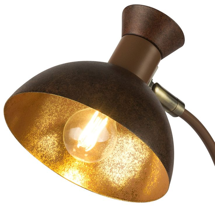 Vintage table lamp rust gold living working room spot reading lamp adjustable  Globo 24810R – Bild 7