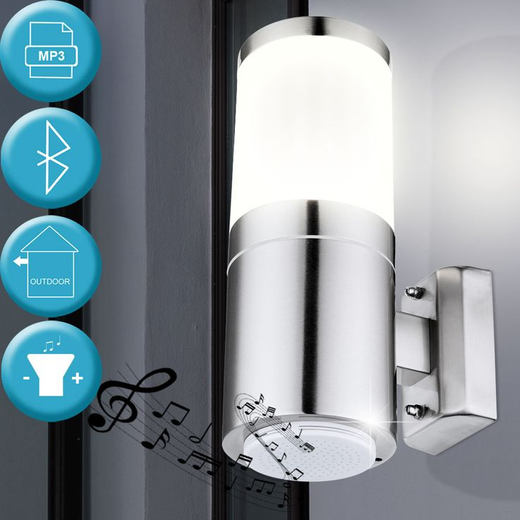 Wand Leuchte Edelstahl Bluetooth Lautsprecher Garten Terrassen Außen Lampe Balkon Globo 32014B – Bild 2