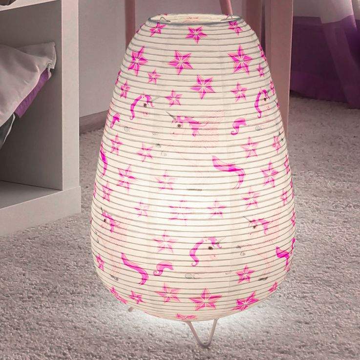 Girl Table Lamp Unicorn Design Kids Room Lighting Paper Lamp  Globo 16922T – Bild 2