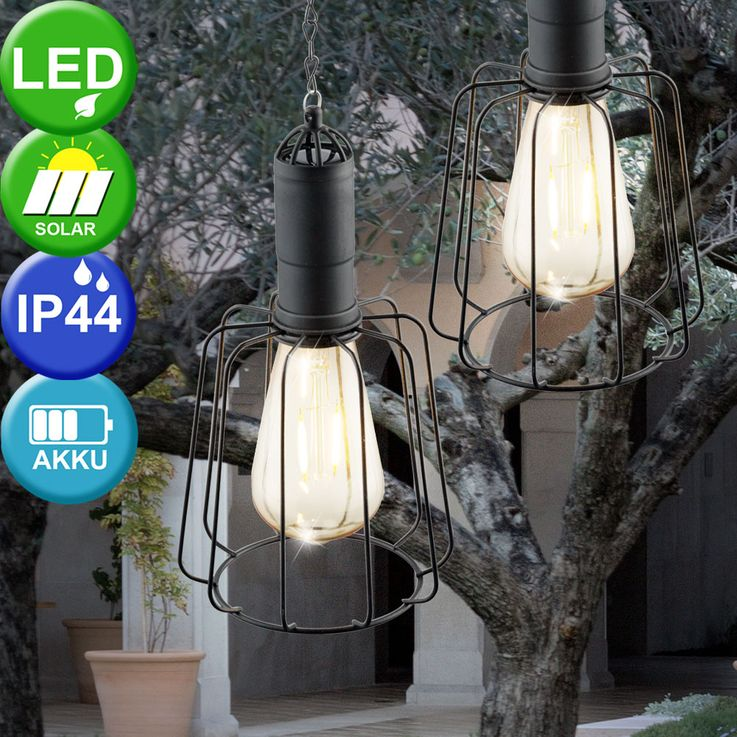 LED Solar Ceiling Hanging Lamp Garden Terraces Vintage Cage Outdoor Pendulum Lamp Glass  Globo 33264 – Bild 3
