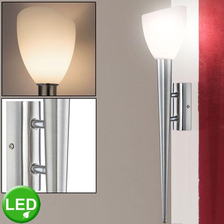 Luxus LED Wand Fackel Glas Schirm Leuchte Wohn Ess Zimmer Lampe satiniert silber Globo 4410-1WL – Bild 2
