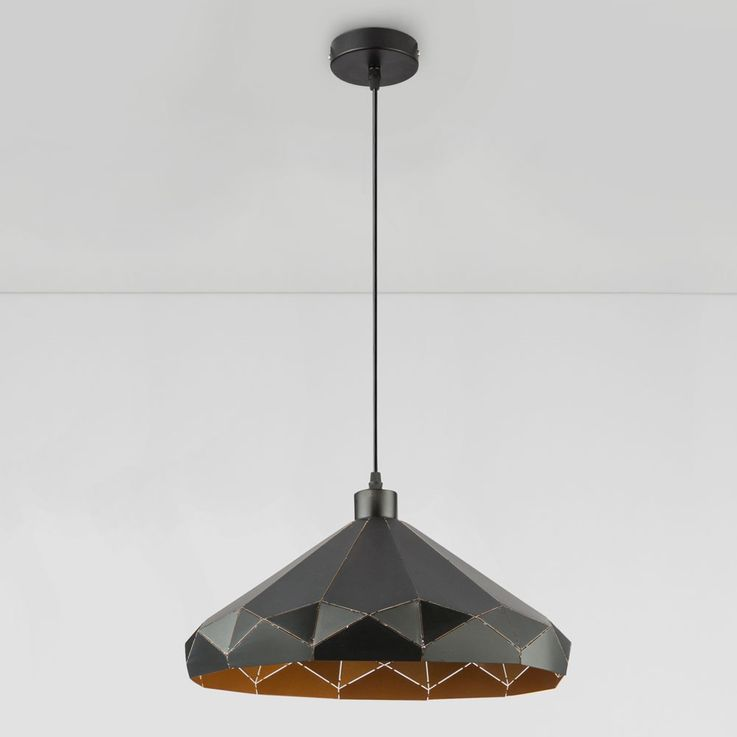 Pendant lamp with pattern lampshade, black gold, D 40 cm – Bild 7