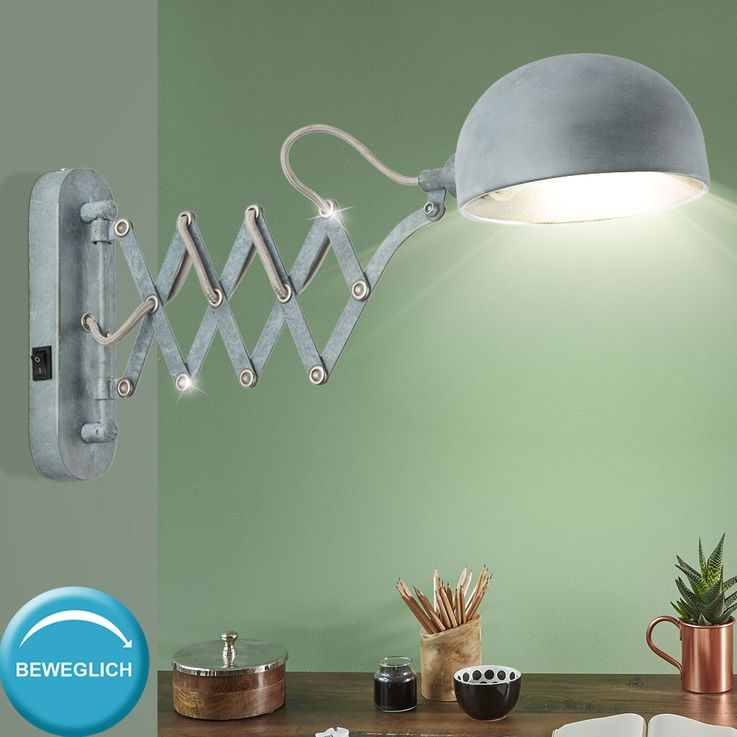 Wall lamp moveable cement optics silver living room accordion reading lamp  Globo 58308W1 – Bild 3