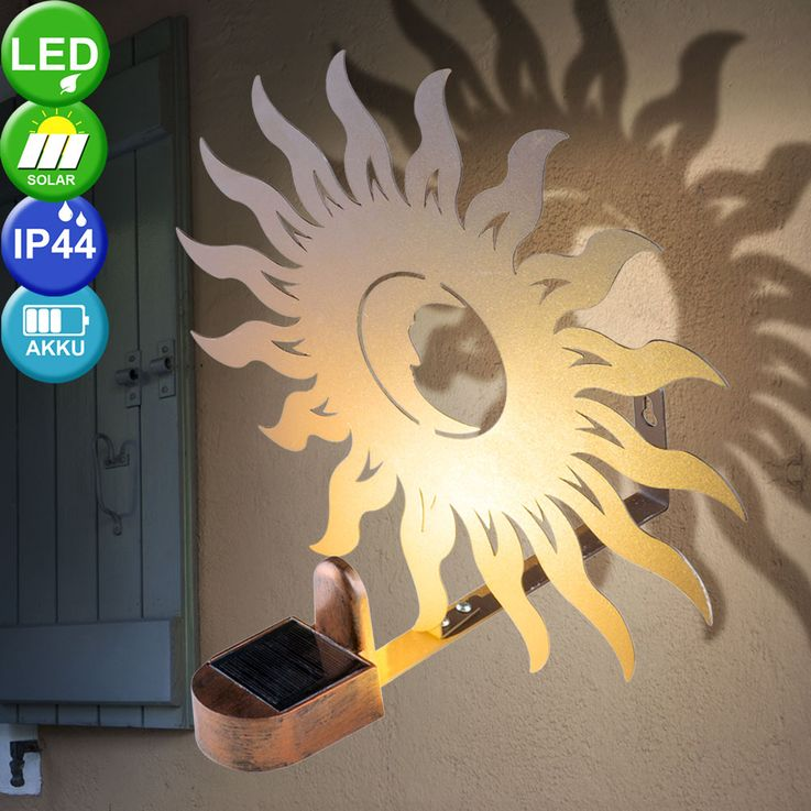 Applique murale solaire LED Sun Design Porch Garden Lighting Figurine Rust  Globo 33906 – Bild 2
