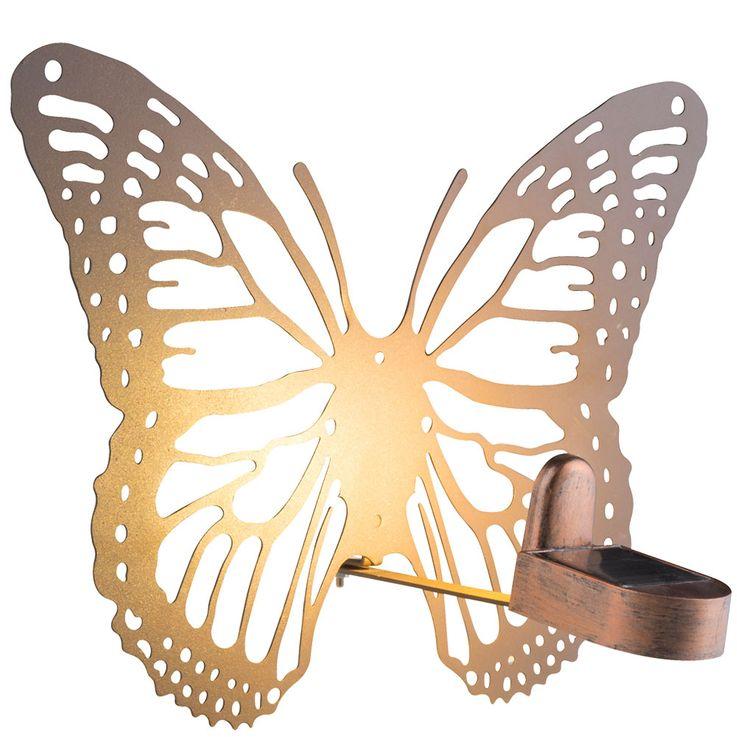 LED Außen Solar Wand Leuchte Terrassen Schmetterling Garten Lampe Rost-Farben Globo 33907 – Bild 4