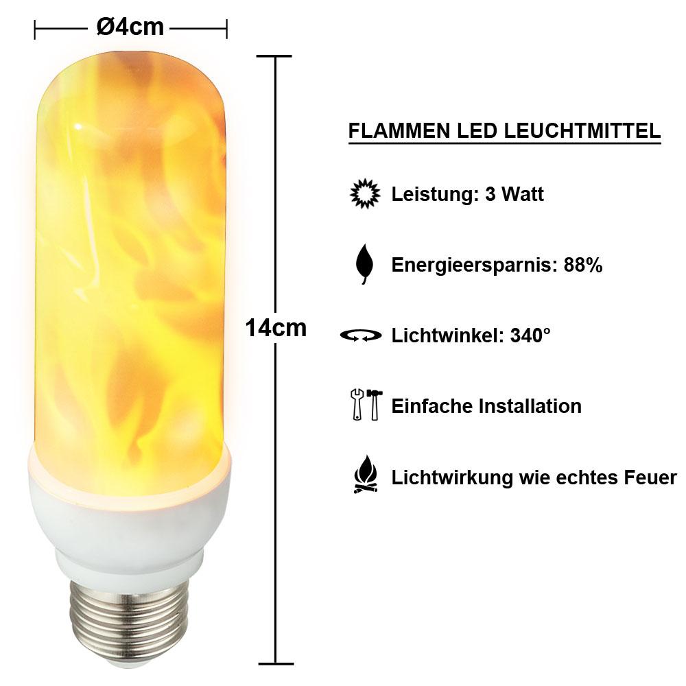 LED Flacker Feuer Leuchtmittel 3W Flammen Effekt E27 Fackel Deko Lampe 1600K