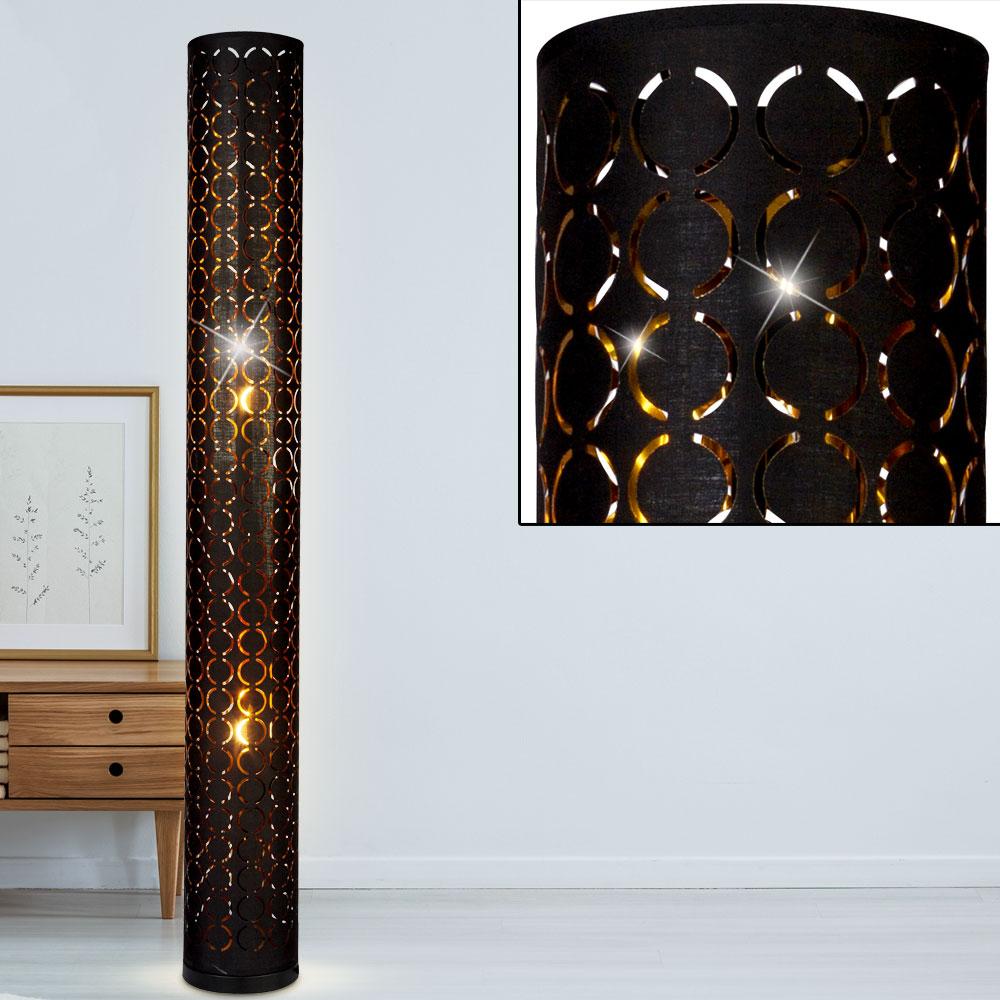 Textil Decken Fluter Schwarz Gold Boden Steh Leuchte Schalter