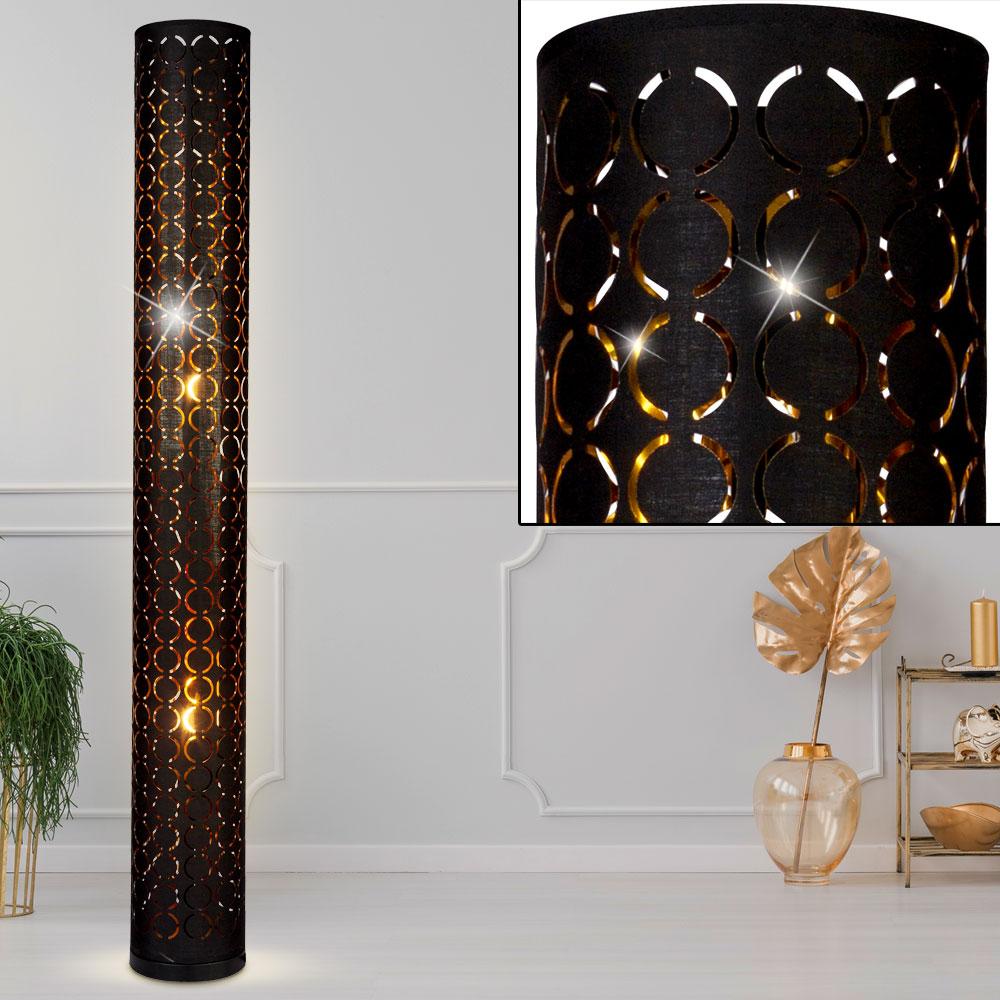 Stehlampe Ringstanzungen Schwarz Gold Hohe 119 Cm Harald Etc