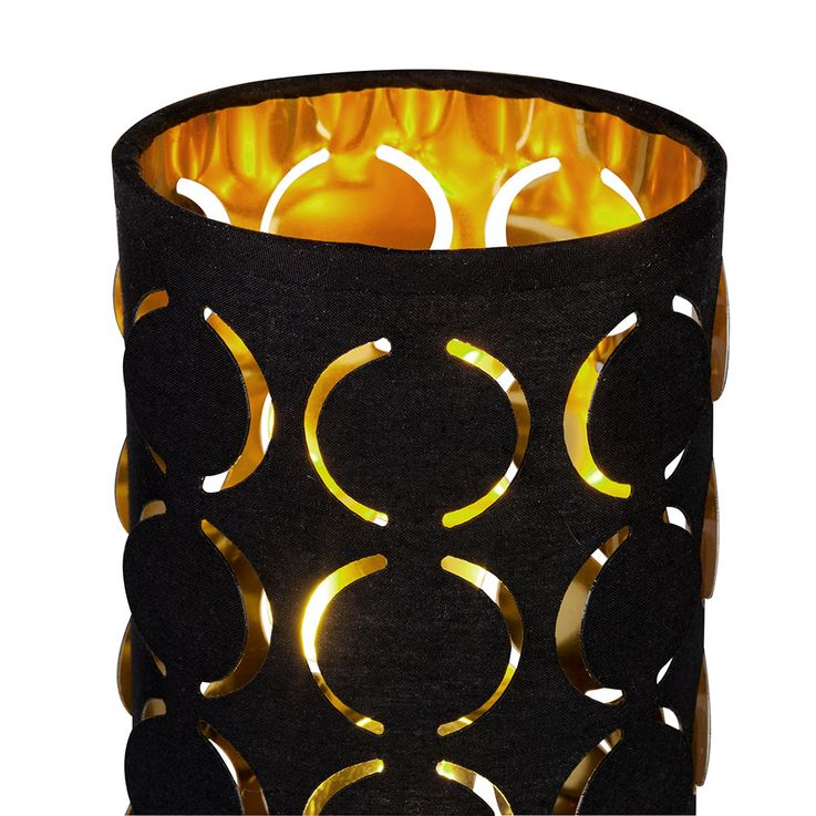 Table lamp, ring punches, black gold, H 25 cm, HARALD – Bild 4