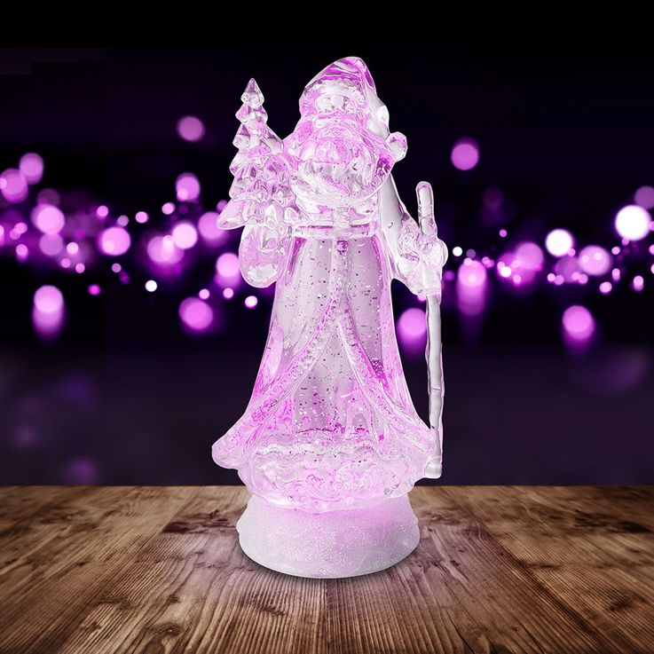 Lampe décorative à LED RGB Père Noël Figurine changeante de couleur X-MAS - Support de table à paillettes  Globo 23208 – Bild 6