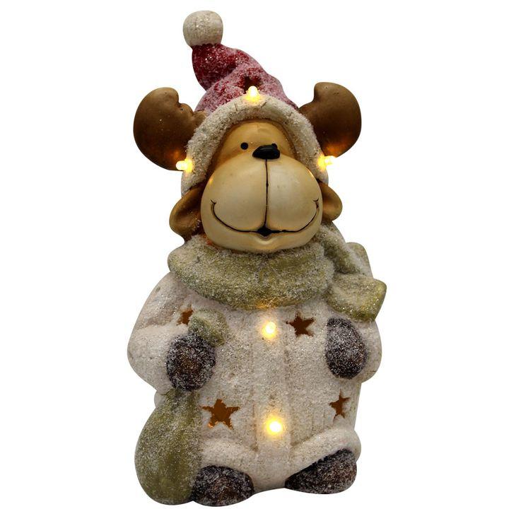 LED Rentier Figur Weihnachts Dekoration Glitzer Tisch Leuchte X-MAS Advent Lampe Globo 29870 – Bild 1