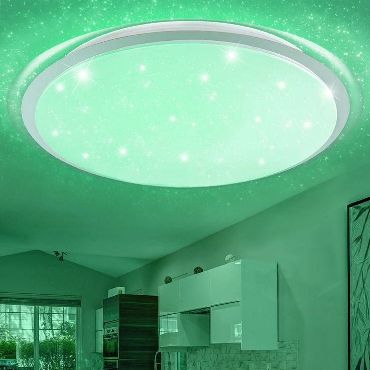 RGB LED Ceiling Light Stars Effect Daylight Dimmer Light Timer REMOTE CONTROL  Globo 41310-80RGB – Bild 11