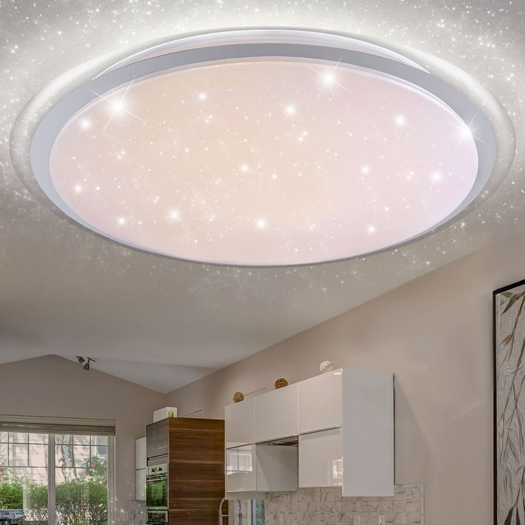 RGB LED Ceiling Light Stars Effect Daylight Dimmer Light Timer REMOTE CONTROL  Globo 41310-80RGB – Bild 8