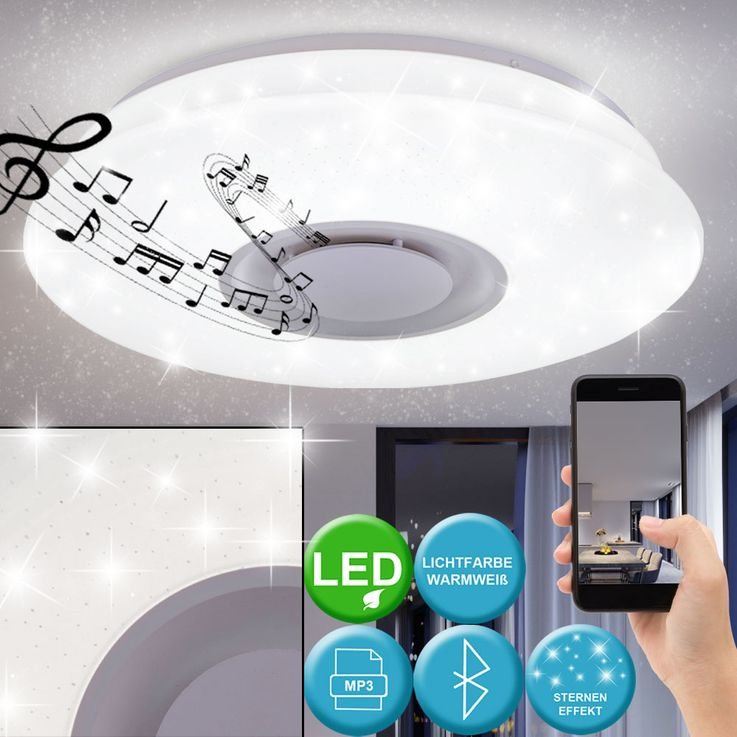 LED Ceiling Lamp Sleep Room Luminaire Stars Effect Bluetooth Speaker Spotlight  Globo 41341-12 – Bild 2