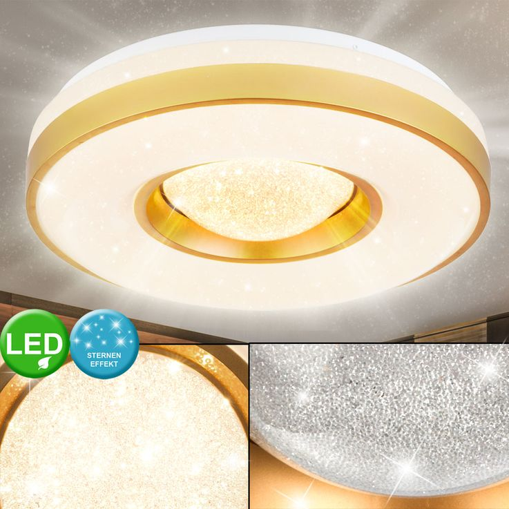 LED ceiling spotlights glitter lamp residential sleep room stars effect lamp gold white  Globo 41742-24 – Bild 2